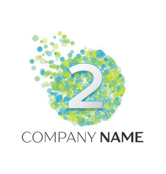 number two logo blue green yellow particles vector image