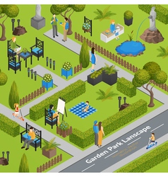 Of Garden Park Landscape vector image