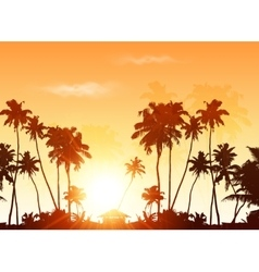 Palms silhouettes at orange sunset sky vector image
