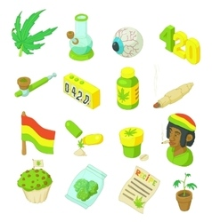 Rastafarian icons set cartoon style vector