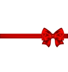 Red bow with ribbon on a white background vector