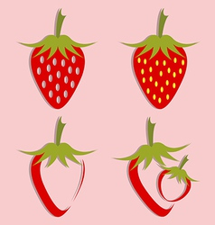 set of strawberry icon vector image vector image