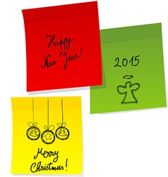 Sheets of paper with doodle Christmas and Happy vector image