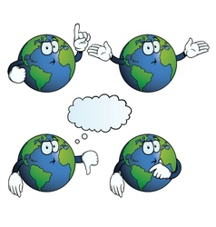 Thinking Earth globe set vector image