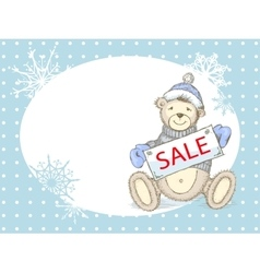 Winter sale card with toy bear vector