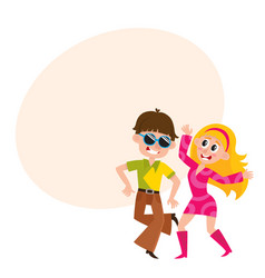 young couple man and woman dancing dicso having vector image vector image