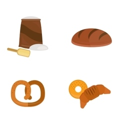 Fresh baked bread products icons vector