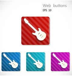 Buttons with icon of guitar vector image