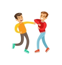 Two equally strong boys fist fight positions vector