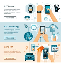 NFC Technology Horizontal Banners Set vector image