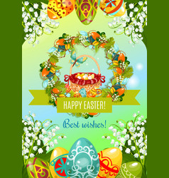 Easter poster with egg hunt basket and flowers vector