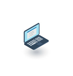 Laptop computer notebook isometric flat icon 3d vector