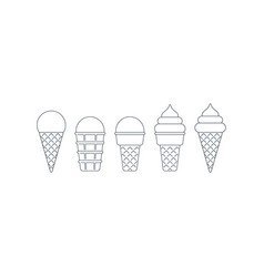 Ice cream cone linear icons ball and twisted top vector