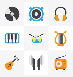 Music flat icons set collection of dj sonata vector