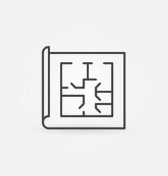 Floor plan linear icon vector
