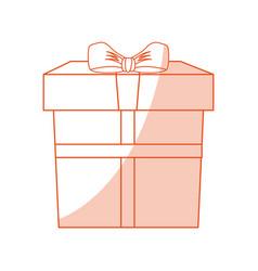 Orange shading silhouette cartoon giftbox with vector