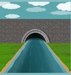 tunnel with river vector image