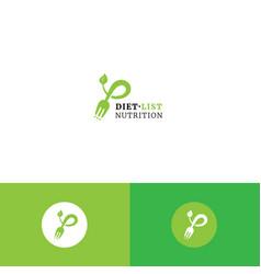 Cute fork checklist and leaf organic logo vector
