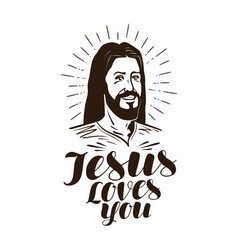Jesus loves you lettering religion concept vector
