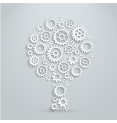 3d concept mechanical tree made of gears vector