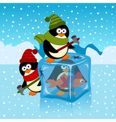 Ice cube with penguin vector