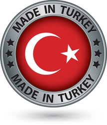Made in turkey silver label with flag vector