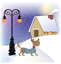 Christmas card with happy dressed dog vector image