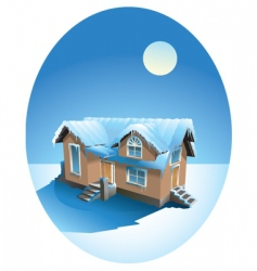 Snow covered house in winter vector