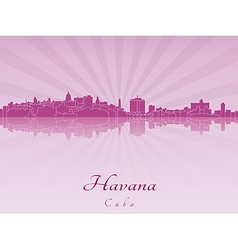 Havana skyline in purple radiant orchid vector