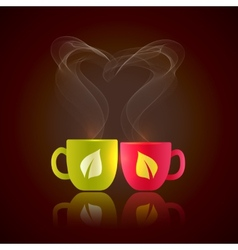 Two cups of tea vector