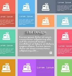 Cash register icon sign set of multicolored vector