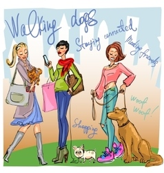 Pretty fashionable women with dogs vector