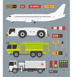 Airport infographic set with trucks vector