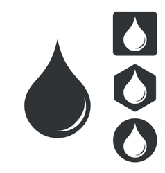 Water drop icon set monochrome vector