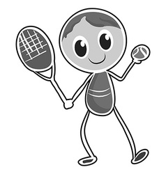 Male character playing tennis vector