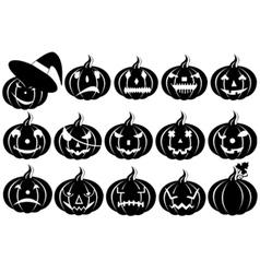 Halloween pumpkins silhouette vector