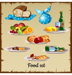 Set of food and waste vector