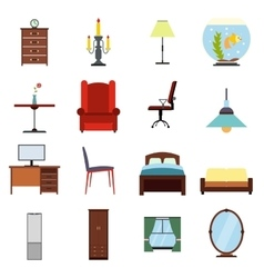 Furniture flat icons set vector