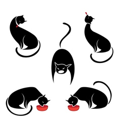 Big set of the black cats vector