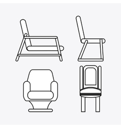 Set of black and white chairs vector