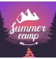 Summer camp logo summer camp emblem design vector