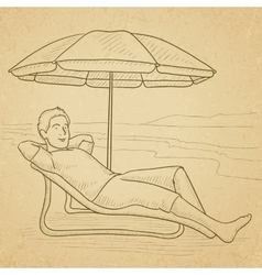 Man sitting in chaise longue vector