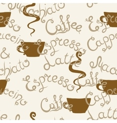 Coffee seamless pattern lettering latte vector