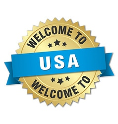 usa 3d gold badge with blue ribbon vector image