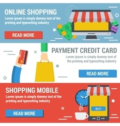 Three horizontal banners ONLINE SHOPPING vector image