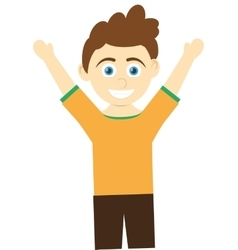 Happy boy with open arms icon vector