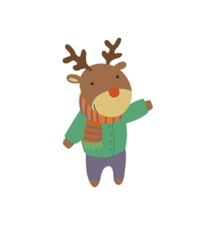 Deer in green warm coat childish vector