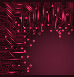 Abstract electronics red background with circuit vector