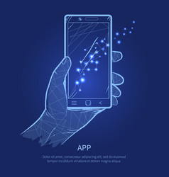 app hand holding phone on vector image