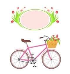 Bicycle and frame flowers vector image